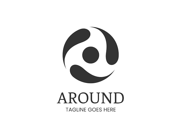 Круглый логотип с тремя окружающими элементами