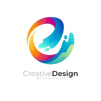 波のデザインテンプレート、水のスウッシュアイコンと円のロゴ