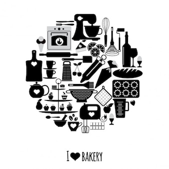 Circle made with elements of the bakery