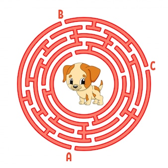 Circle maze. dog animal. game for kids. puzzle for children.