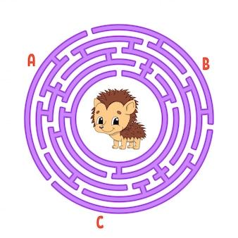 サークル迷路。子供向けのゲーム。子供のためのパズル。ラウンドラビリンスの難問。ハリネズミの動物。
