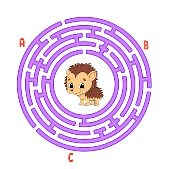 Circle maze. game for kids. puzzle for children. round labyrinth conundrum. hedgehog animal.