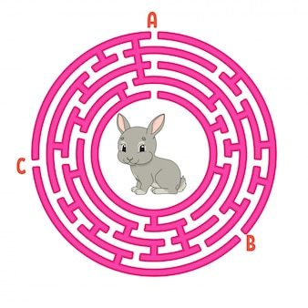 Circle maze. game for kids. puzzle for children. round labyrinth conundrum. rabbit bunny animal.
