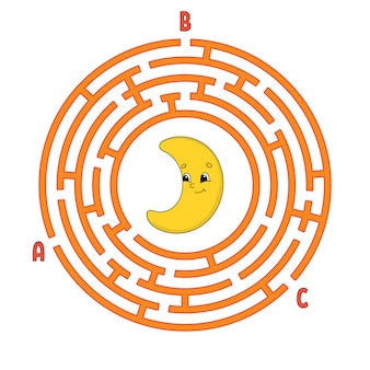 Circle maze. game for kids. puzzle for children. round labyrinth conundrum.