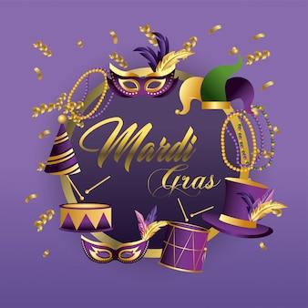 Circle merdi gras emblem with masks and drums decoration