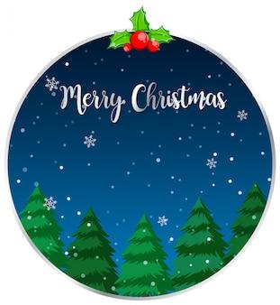 Круг веселая рождественская открытка