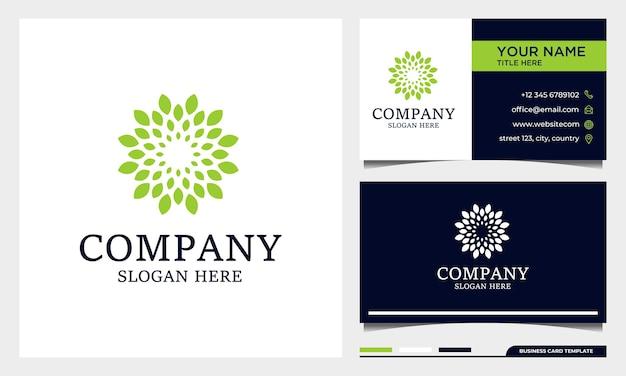 名刺テンプレートとサークル自然の葉のロゴ