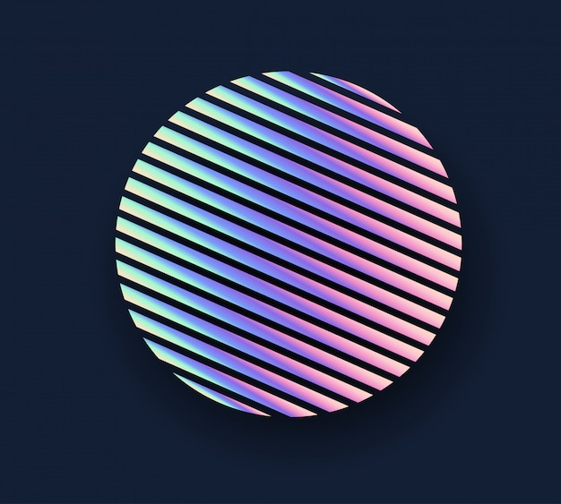 Circle neon holographic background.