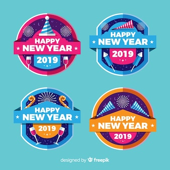 Circle new year badges collection