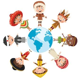 Круг счастливых детей разных рас