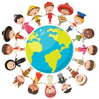 幸せな子供のさまざまな人種の輪