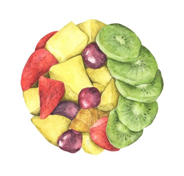 Круг здорового салата из свежих фруктов. вид сверху. акварельные иллюстрации