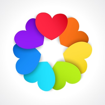 Круг бумажных сердечек, раскрашенных во все цвета радуги