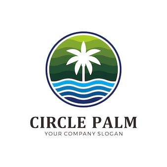 Circle palm logo with green and blue color