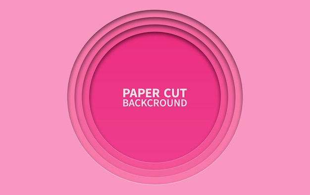 Circle paper cut background. wavy pink layers.