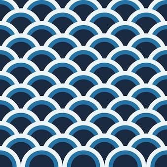 背景は青の円模様