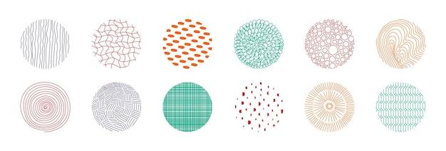 원형 패턴 디자인 노트북 및 책 표지에 대한 손으로 그린 원형 멤피스 기하학적 모양