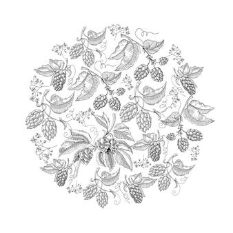 Круглый узор с листьями хмеля с повторяющимися красивыми ягодами на белой руке, рисующей иллюстрацию