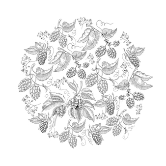Circle pattern hop foliated doodle with repeating beautiful berries on white hand drawing illustration