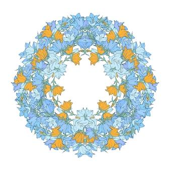 Круговой узор с колокольчиками. круглый калейдоскоп цветов и цветочных элементов.