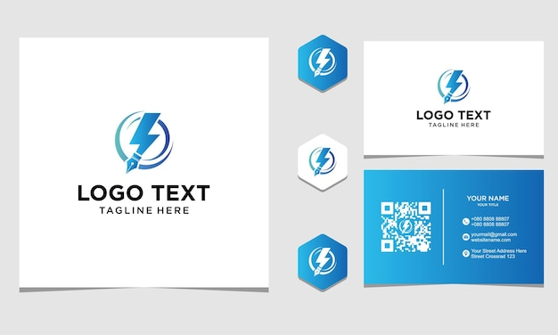 Circle pen energy logo design inspiration for company and business card premium vector