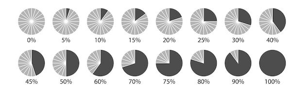Raccolte di diagrammi percentuali del cerchio per infografica, 0, 5, 10, 15, 20, 25, 30, 35, 40, 45, 50, 55, 60, 65, 70, 75, 80, 85, 90, 95, 100. vector illustrazione.