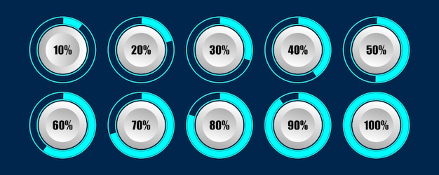 Circle percentage loader progress bar diagrams of loading best for infographic