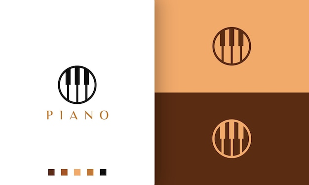 Circle piano logo in simple and modern style suitable for pianist or music studio