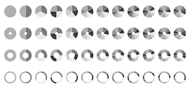 Circle pie charts round diagram  sections or steps