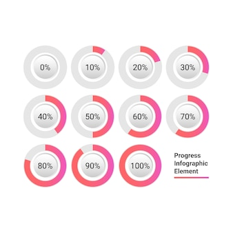 Circle progress bar icon infographic element