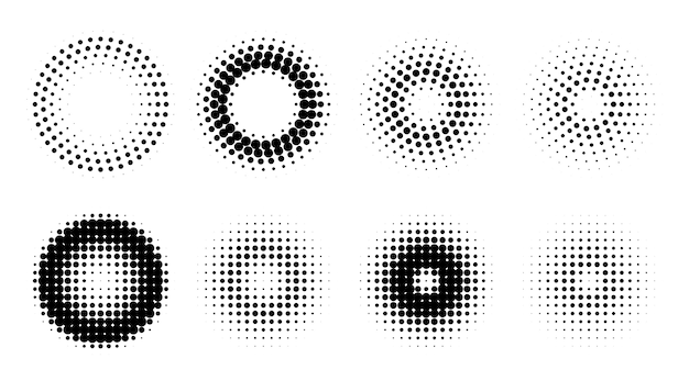 Circle retro halftone pattern background set