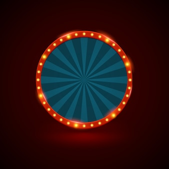 Circle retro light banner with light bulbs on the contour.
