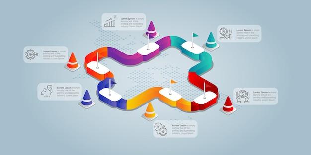 Круговая дорога изометрическая инфографическая презентация