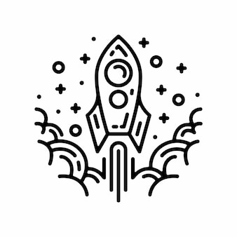 白い背景で隔離の円ロケット線形記号