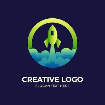 Круглый логотип ракеты, ракета и круг, комбинированный логотип с зеленым и синим цветовым стилем