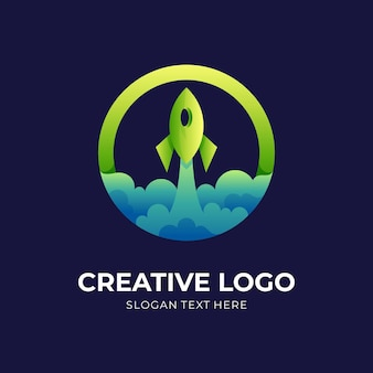 Circle rocket logo, rocket and circle, combination logo with  green and blue color style
