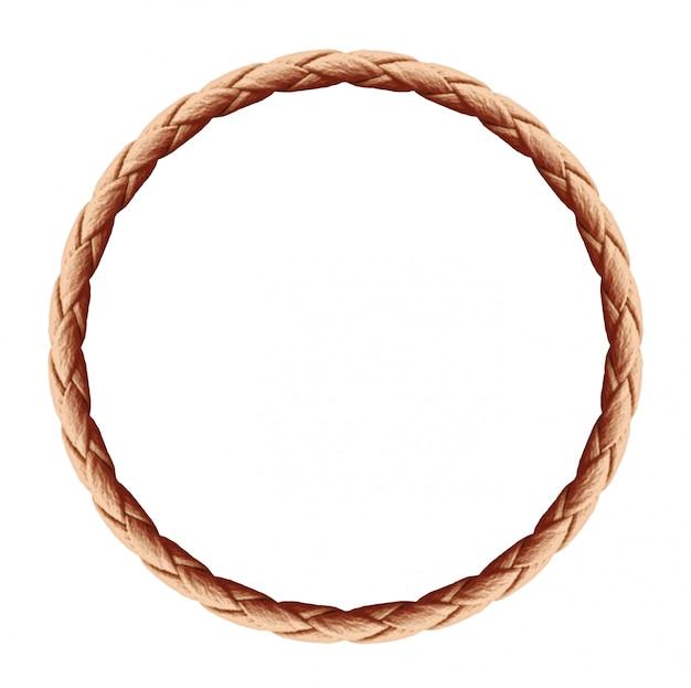 Круглая веревочная рама - бесконечная веревочная петля, изолированная на белом