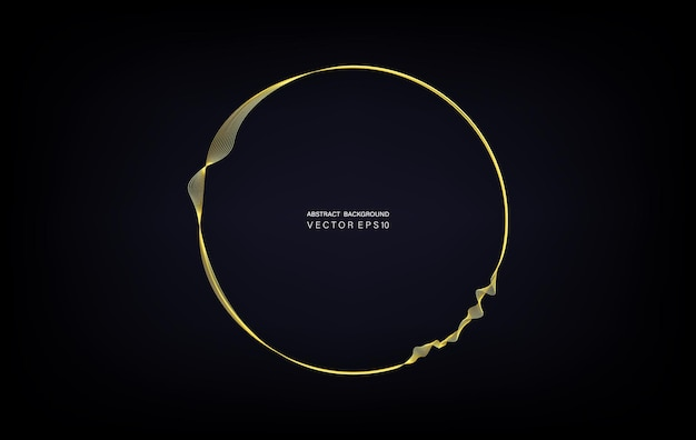 テキスト用のスペースと暗いティールグラデーションの背景に分離された金の波線で丸いフレームを丸で囲みます。ベクトルデザイン要素