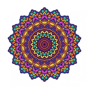 Circle round ornament with mandala style
