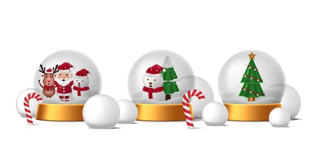 メリークリスマスと新年あけましておめでとうございますのイラストと円形の球形の装飾