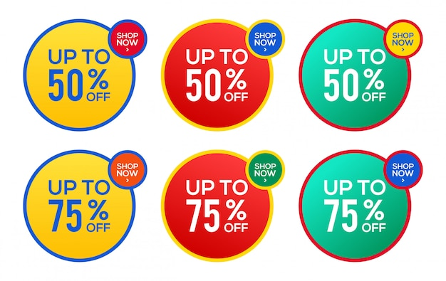 Circle sale  banner template, special offer 50% and 75% stock