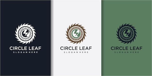 名刺テンプレートを持つ会社のサークルソーと葉のロゴのデザインコンセプト