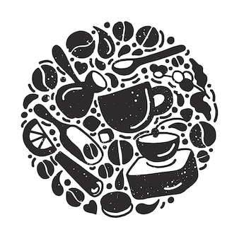Круг набор форм элементов кофе