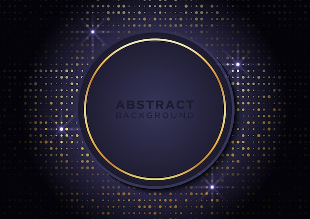 Circle shape background with gold glitters and starlight