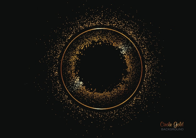 Circle shape background with gold glitters