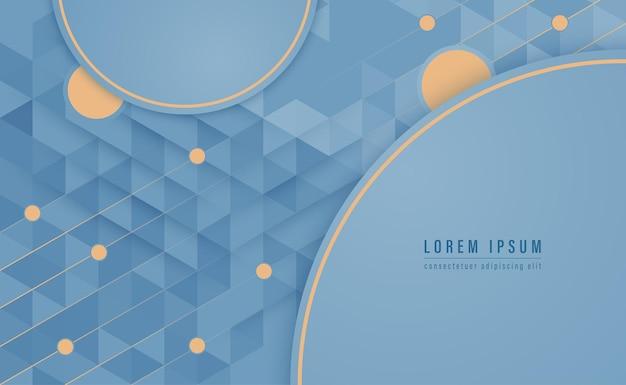 삼각형 모양 패턴 배경으로 원형 모양 파란색과 금색 선