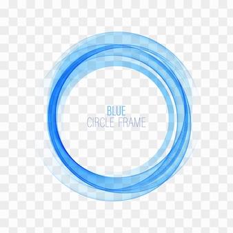 円の形。青い円の線。青い円。透明な円。抽象的な波の円。サークルフレーム。