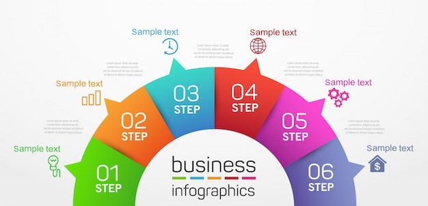 Шаблон оформления бизнес инфографики в форме круга с 6 шагами