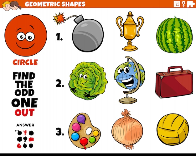 Circle shape objects educational task for kids