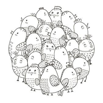 Узор в форме круга с милыми птицами для раскраски